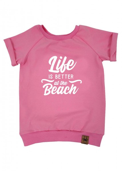 """T-Shirt rosa """"Life is better at the beach"""""""