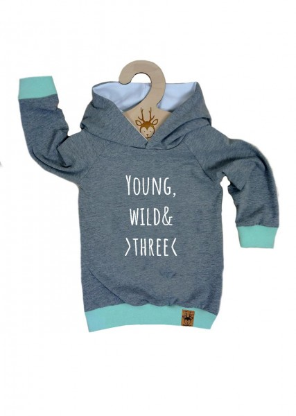 "Geburtstags-Hoodie hellgrau ""Young, wild and three"""