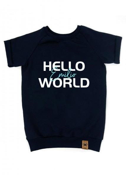 "T-Shirt dunkelblau ""Hello World"" - Druck mint"