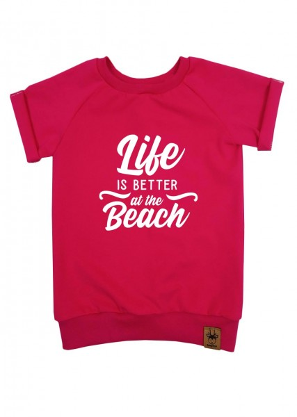 "T-Shirt pink ""Life is better at the beach"""