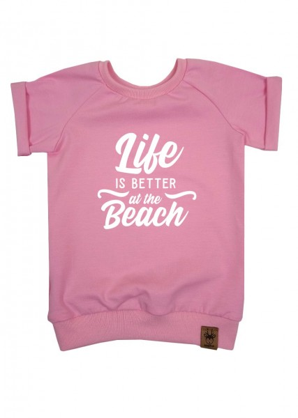 """T-Shirt hellrosa """"Life is better at the beach"""""""