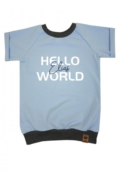"T-Shirt hellblau ""Hello World"" - Druck dunkelblau"