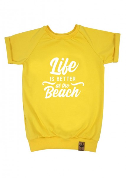 """T-Shirt gelb """"Life is better at the beach"""""""