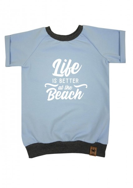 """T-Shirt hellblau """"Life is better at the beach"""""""