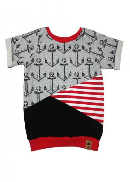 Patchwork T-Shirt Ankertraum rot
