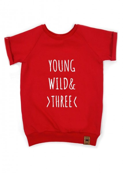 "Geburtstags-T-Shirt rot ""Young, wild and three"""