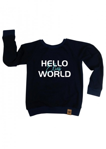 "Langarmshirt dunkelblau ""Hello World"" Druck mint"