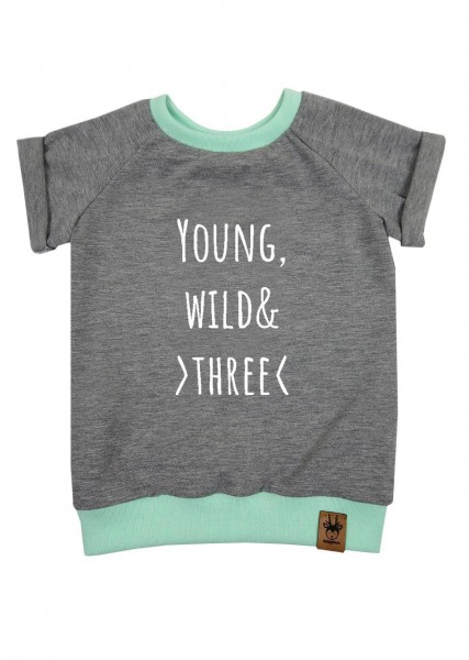 "Geburtstags-T-Shirt hellgrau ""Young, wild and three"""