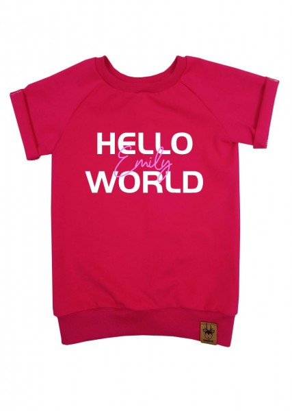 "T-Shirt pink ""Hello World"" - Druck rosa"