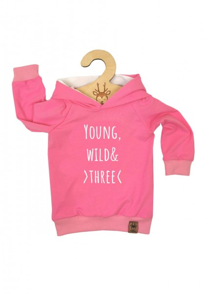 """Geburtstags-Hoodie rosa """"Young, wild and three"""""""