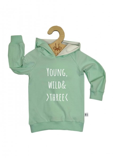 """Geburtstags-Hoodie mint """"Young, wild and three"""""""