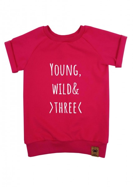 """Geburtstags-T-Shirt pink """"Young, wild and three"""""""
