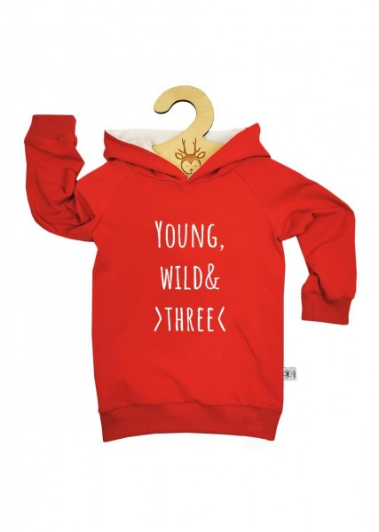 """Geburtstags-Hoodie rot """"Young, wild and three"""""""