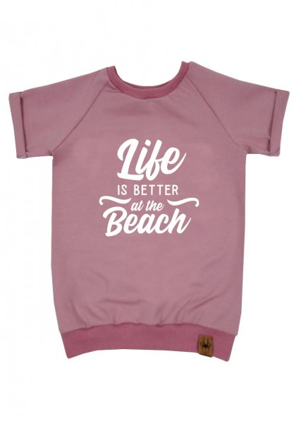 "T-Shirt altrosa ""Life is better at the beach"""