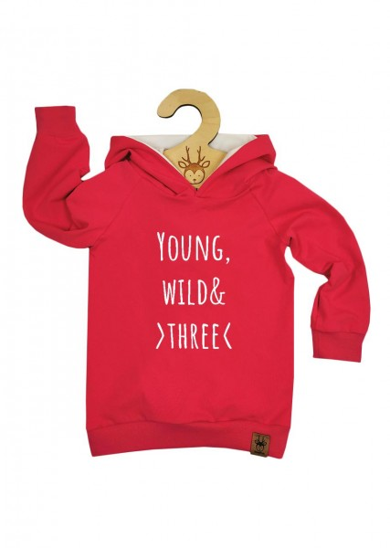 "Geburtstags-Hoodie pink ""Young, wild and three"""
